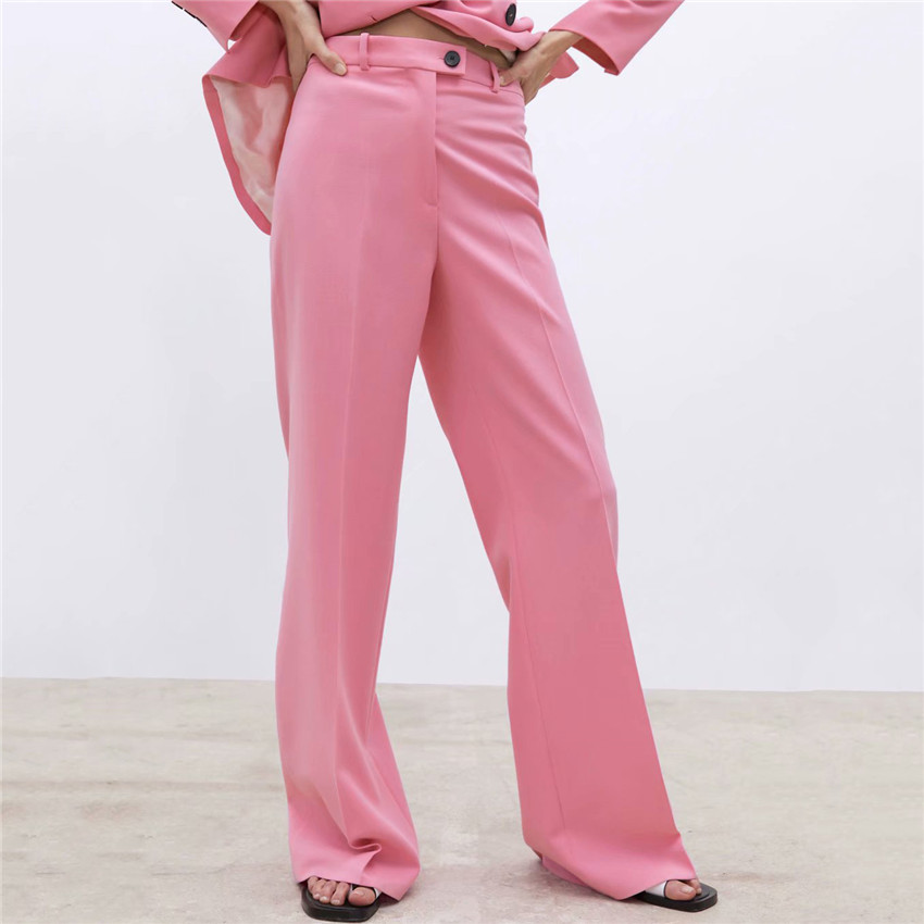 BLSQR Women Pink   Wide     leg     pants   Pockets zipper fly design office wear full length trousers female casual long pantalones