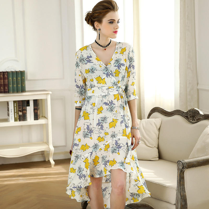 High quality 2018 NEW spring summer V collar half Sleeve Maple leaves printed ruffled defined waist women vestidos
