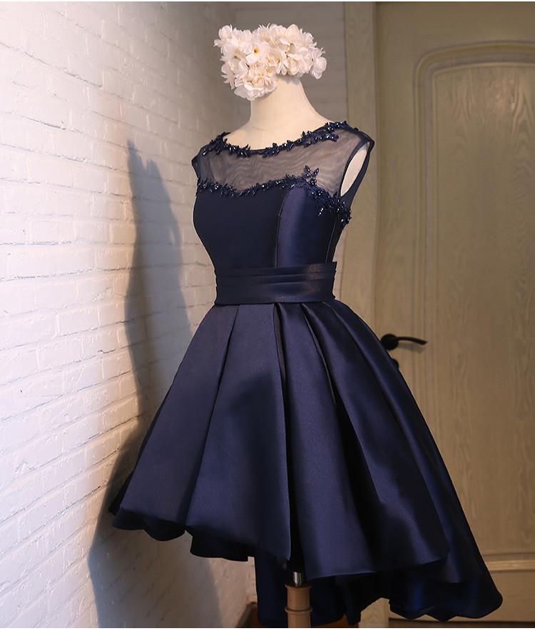 Elegant Satin Navy Blue Sleeveless Cocktail Dress 2