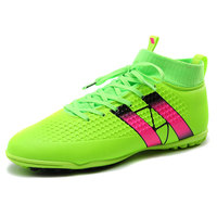 New Soccer Football Shoes With Ankle Boots Green Black Orange Soccer Cleats High Ankle Mens Turf