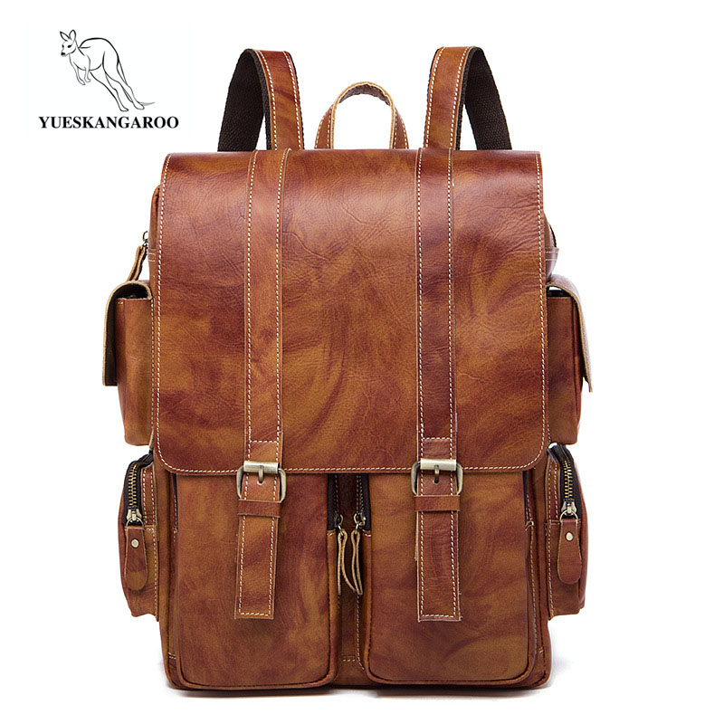 YUESKANGAROO Men's Genuine Leather backpack Multifunction Men 15'' Laptop Backpacks School Bags Mochila Leisure Travel Backpack men backpack student school bag for teenager boys large capacity trip backpacks laptop backpack for 15 inches mochila masculina