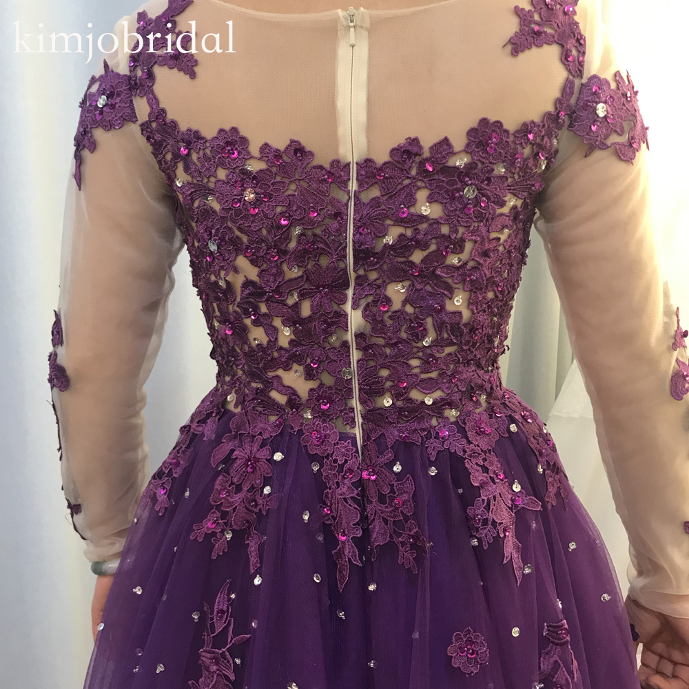 purple prom dresses 2019 long sleeve tulle crystal pearls a line lace evening dresses gowns real picture arabic in Prom Dresses from Weddings Events
