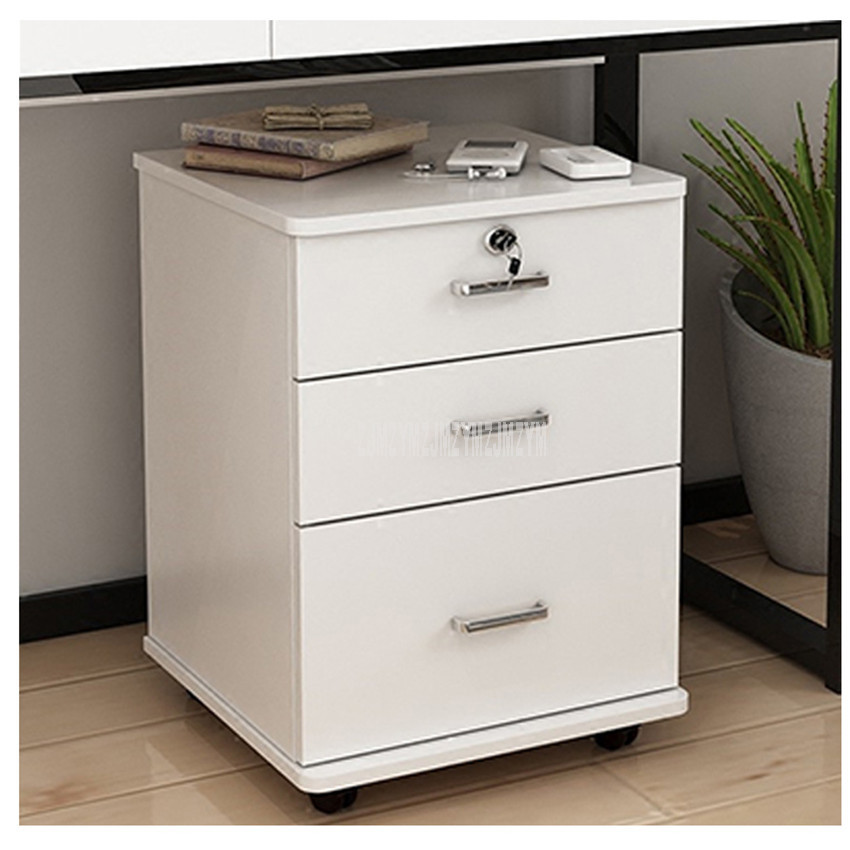 3 Drawer Wooden Office Cabinet File Storage Cabinet With Lock Floor Stand Wheel Design Movable File Organizer Office Supplies