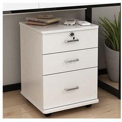 3 Laci Kantor Kayu Kabinet Penyimpanan File Kabinet dengan Kunci Lantai Berdiri Desain Roda Bergerak File Organizer Alat Kantor