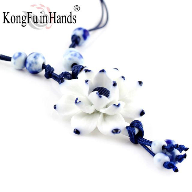 Handmake Vintage Lotus Flower Pendant Necklace Sweater Chain Blue and White Cera