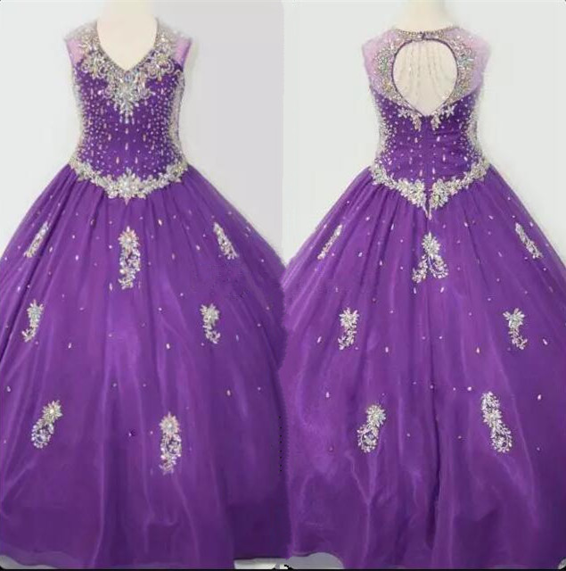 Gorgeous Shinny Crystals Beaded Pageant Dress for Girls Ball Gown Flower Girl Dresses Size 4 6 8 12 14 16Y Custom
