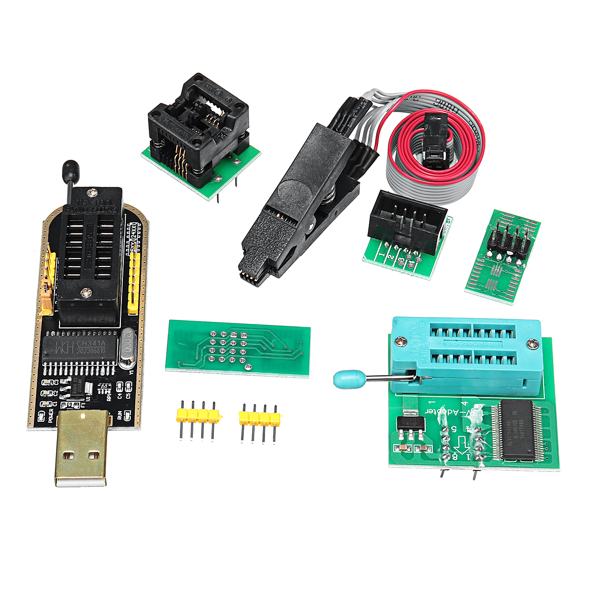 EEPROM Flash BIOS USB Programmer Module CH341A + SOIC8 Clip + 1.8V Adapter + SOIC8 Adapter