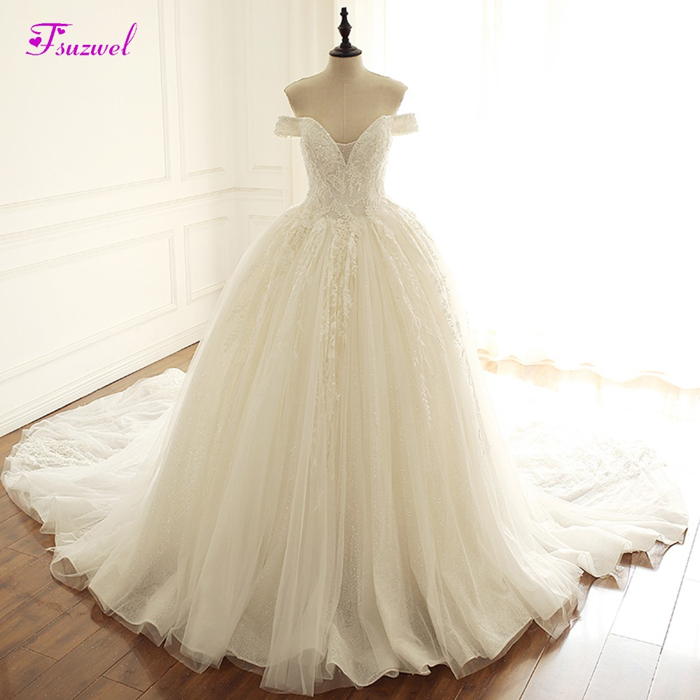 Fsuzwel Luxury Beaded Boat Neck Lace Up A-Line Wedding Dresses 2019 Chapel Train Appliques Princess Bride Gown Vestido De Noiva