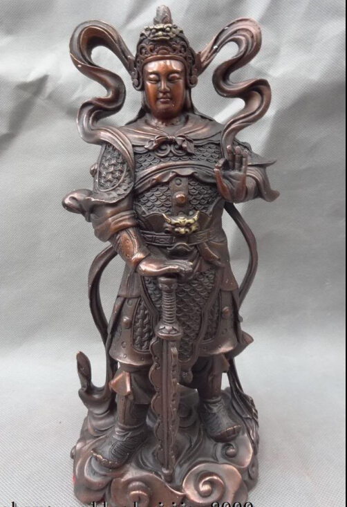 """11"""" Chinese Pure Bronze Lion Head Stand Warrior Wei Tuo Veda Protect God Statue statues gods statue head statue lion - title="""