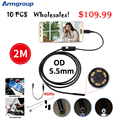 Wholesale 10pcs USB Android Endoscope Camera 5.5mm Lens 6LED Waterproof OTG USB Endoscope Camera 2M USB Android Endoscopio