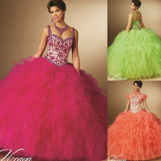 d8c8b1f20b9 Lime Green Fuchsia Coral 2015 Quinceanera Dresses With Corset Back Design  Ruffles Embroidery Beaded Double Straps Long