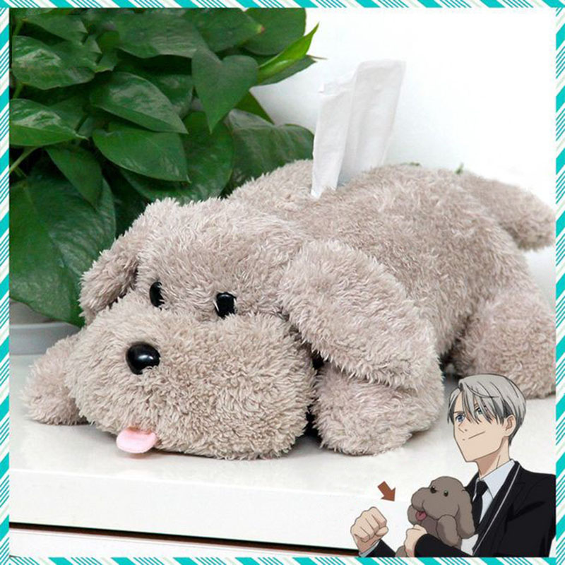 Söt Yuri på is Victor Puppy Poodle Dog Plush Leka Makkachin Pet Dog Papper Box Nyckelring Hängsmycke Cosplay Dekoration Leksak Barn Present