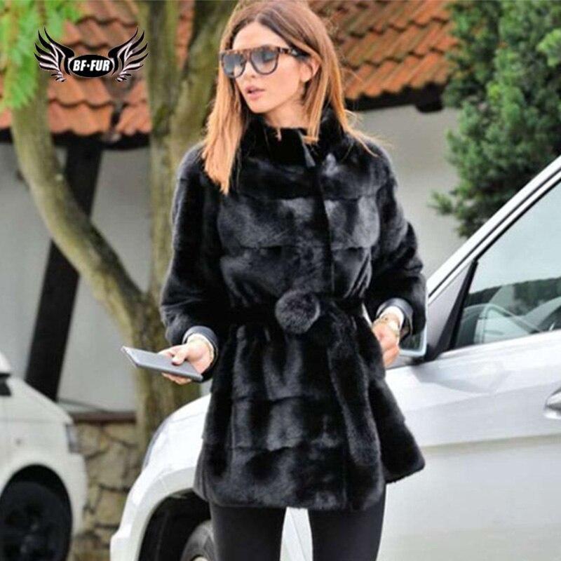 Conception Femmes Nouvelle Mode Buttton Moyen Manteau De cou Véritable Black Avec Veste O Bffur Survêtement Couvert Noir Arrivée Vison Fourrure 5LRqj34A