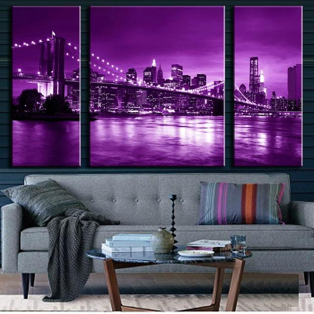 3 Pcs/Set Modern Wall Painting Brooklyn Bridge Combined Paintings Purple  Canvas Wall Art Picture