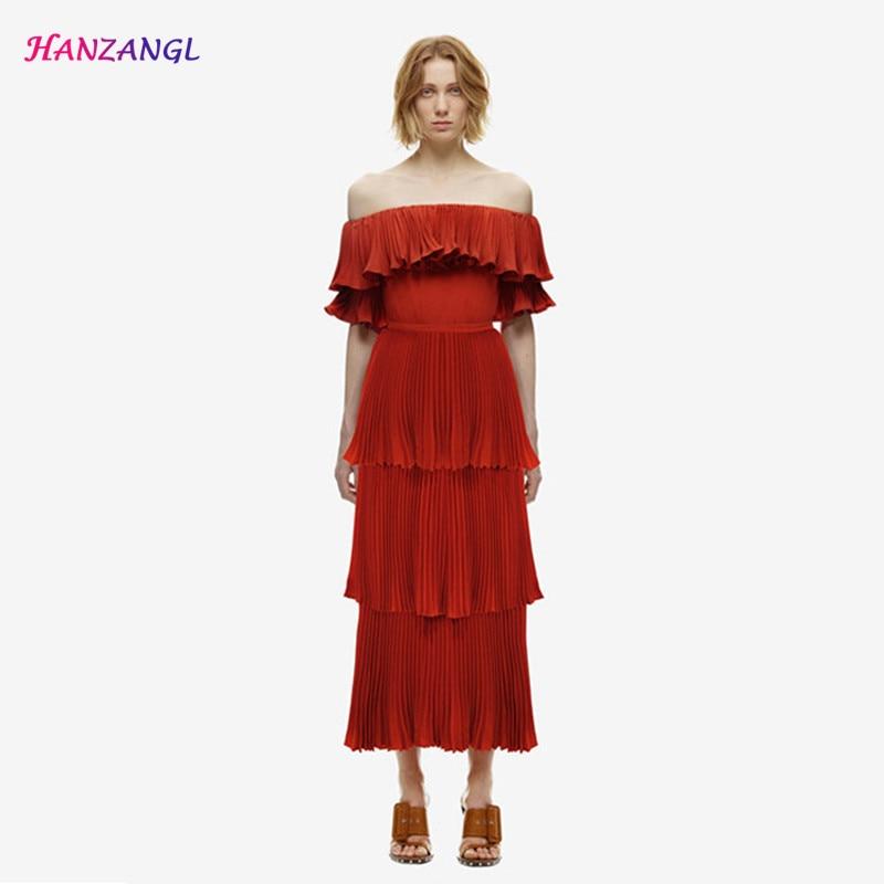 HANZANGL High quality Slash neck Dress Sexy Off the Shoulder Pleated Cascading Ruffle dresses