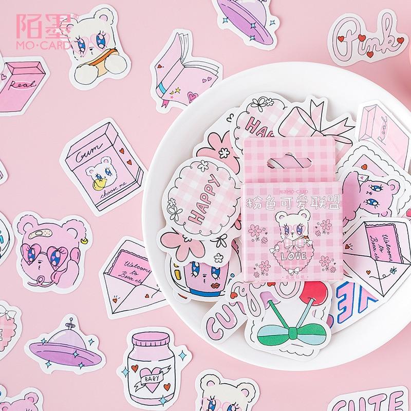45pcs/pack Pink Kawaii Bear DIY Diary Sticker Label Scrapbooking Sticker Handbook Decoration Craft Diary Deco Stickers