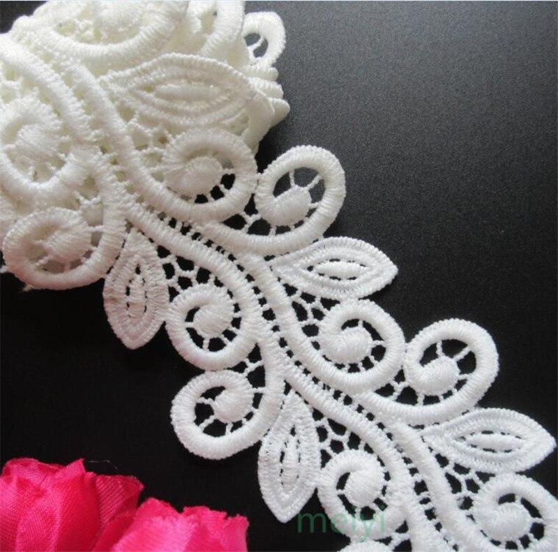 1 ярд белый микро волокна цветок вышитые ткани кружевная Бейка ленты ручной работы DIY материалы для шиться ремесло для костюма украшения