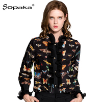 2018 Spring Black Floral Butterfly Printing Long Sleeve Ruffled Collar Vintage Women Shirts Tops High Quality