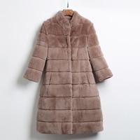 Длинные Стиль высокое качество естественно кролика рекс Мех животных Пальто для будущих мам верхняя одежда Для женщин волны Cut Стенд воротн