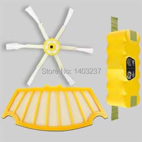 For iRobot Roomba 500 Vacuum Cleaner Accessory Kit Includes Battery,6-Armed Side Brush Filter For iRobot Roomba 500 Series for irobot roomba 551 vacuum cleaner accessory kit roomba 500 551 536 accessory kit replacement battery side brush filter