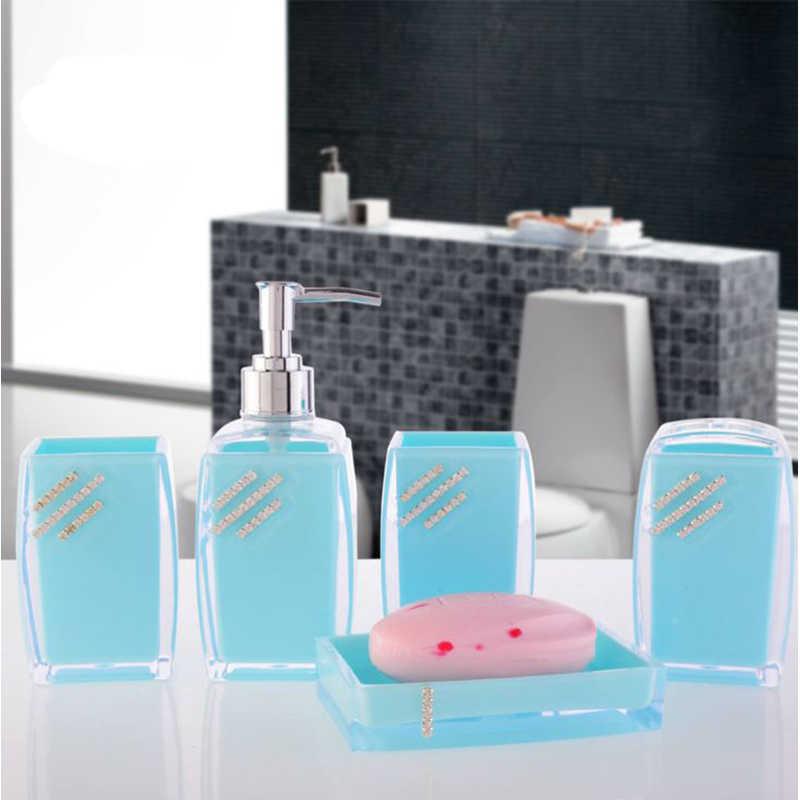 BAISPO 5 sztuk/zestaw łazienka akcesoria zestawy mydelniczka dozownik szczoteczka do zębów pasty zestaw świeczników łazienka zestaw do kąpieli akrylowe diamentowe