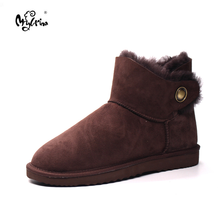 Hot Sale New Brand Genuine Sheepskin Leather Women Boots 100% Natural Fur Non-Slip Snow Boots Fashion Ankle Women Shoes