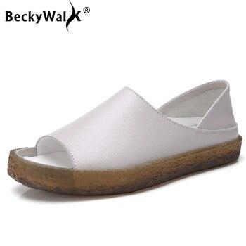 Plus Size 35-44 Genuine Leather Women Sandals Peep Toe Sandalia Feminina Fashion Summer Comfortable Oxford Shoes WSH3289 - discount item  39% OFF Women's Shoes