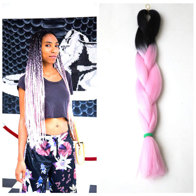 24 Black Baby Pink Color Two Tone Jumbo Braid Hair Pink Ombre
