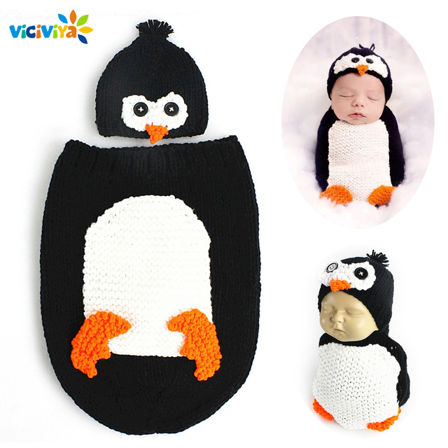 Viciviya 2pcs Newborn Baby Hat Baby Girls Boys Penguin Photography Costume Props Knitted Hat Newborn Outfits Baby Accessories