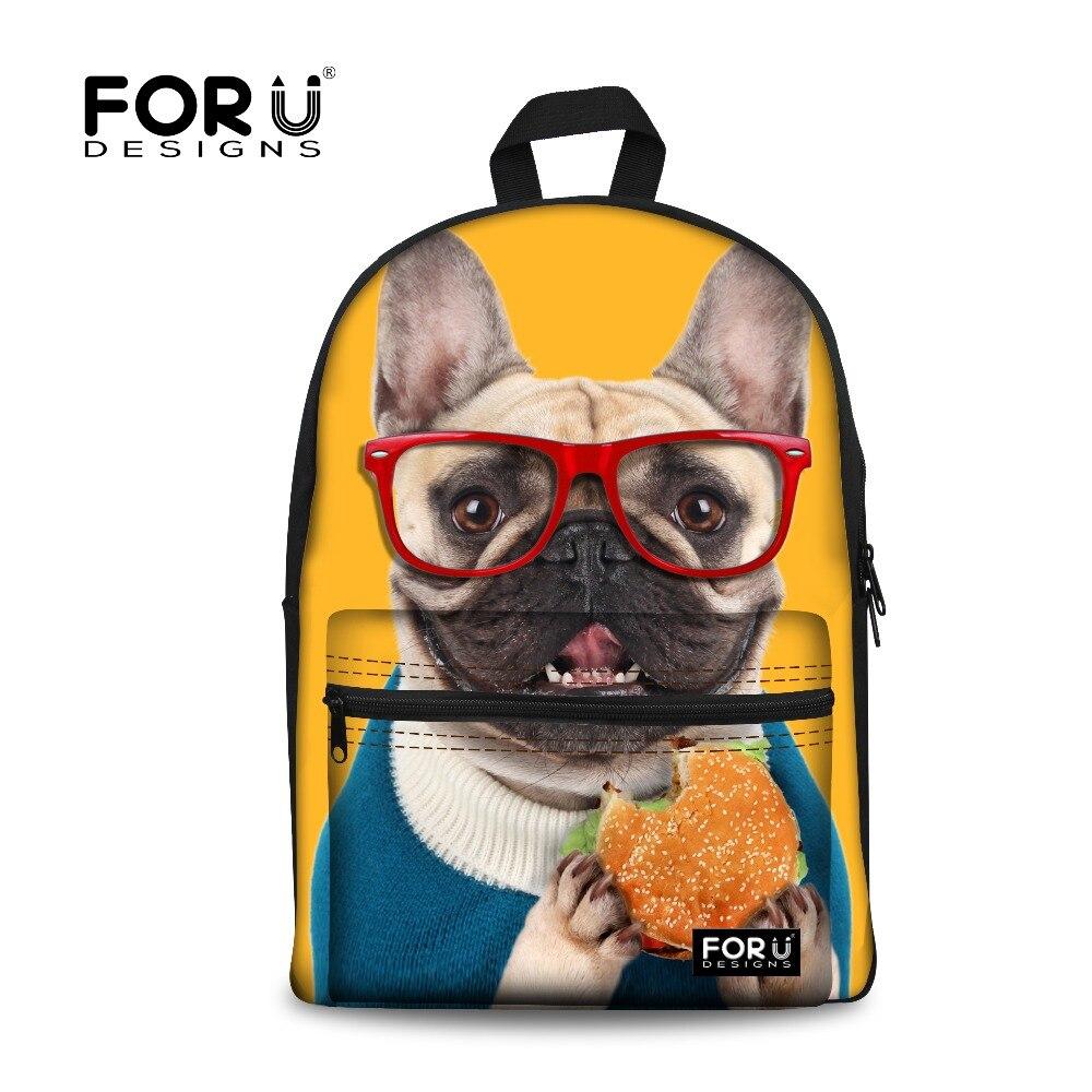 FORUDESIGNS Kawaii French Puppy Dog School Bag for Teenage Girls High School Children Bookbags Preppy Canvas Kids Schoolbags