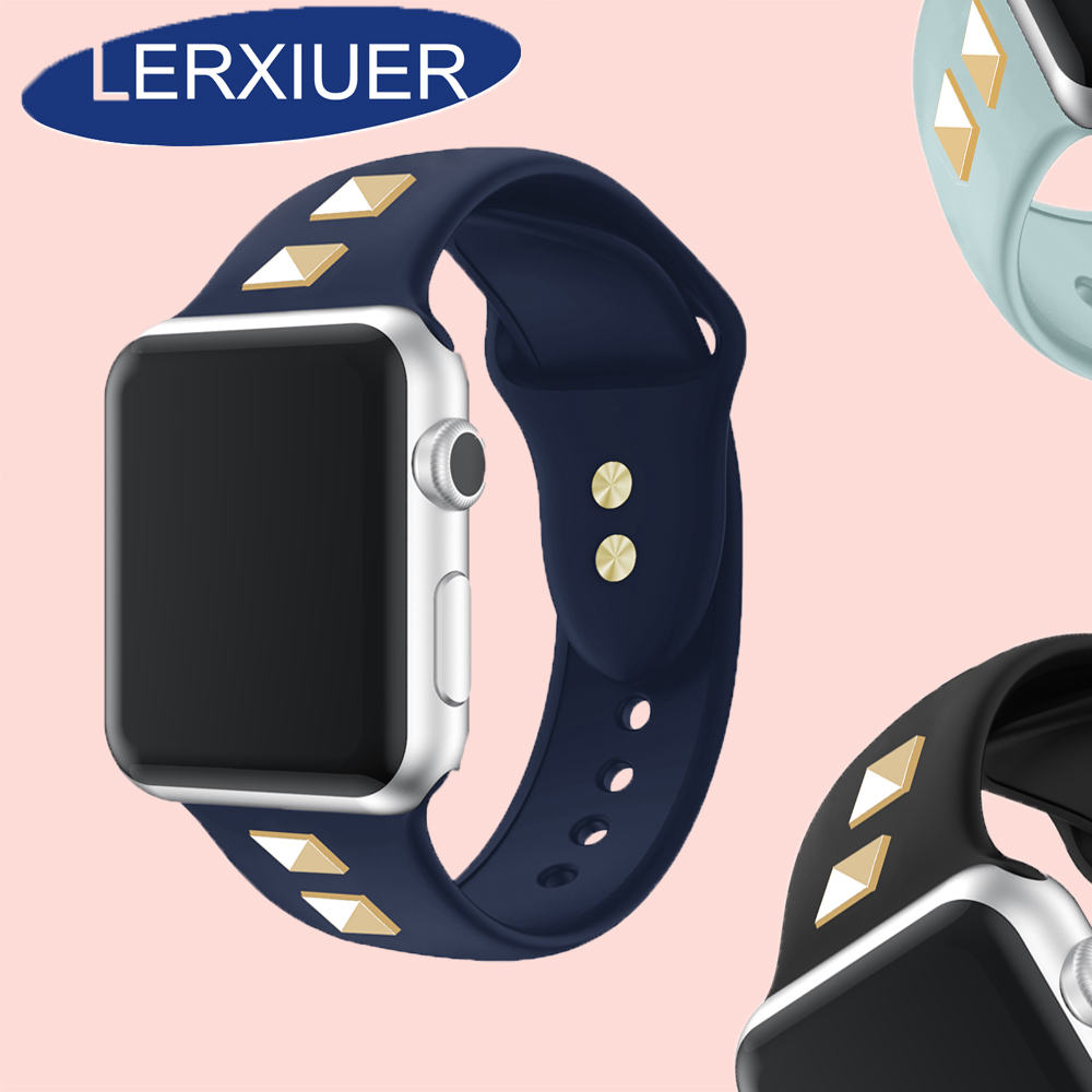 Lerxiuer Silicone Strap for apple watch band for apple watch 4 series 4 3 2 1 punk rivet style for apple watch band 42mm in Watchbands from Watches