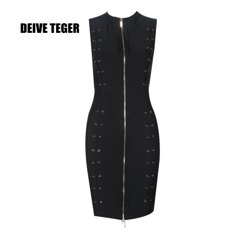 DEIVE TEGER solid black Women elegant sexy Bandage Vestidos Celebrity Evening LACE UP Party Mini Dress  HL2611