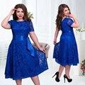 2017 милый стиль осень женщины dress fit и flare твердые короткие регулярные синий цвет империя о-образным вырезом средний-икра кружева пояса платья