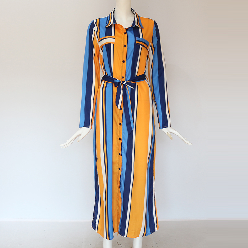 2019 Turn Down Collar Office Ladies Stripe Shirt Dress Long Chiffon Beach Dress Casual Long Sleeve Elegant Party Dress Vestidos 5