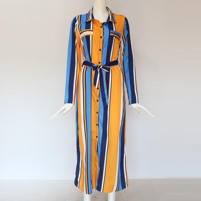 Robe-chemise longue à rayures 182 5