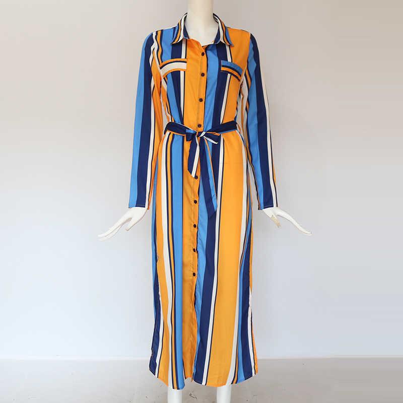 2019 отложной воротник офисное дамское Полосатое платье-рубашка длинное шифоновое пляжное платье повседневное элегантное вечернее платье с длинными рукавами