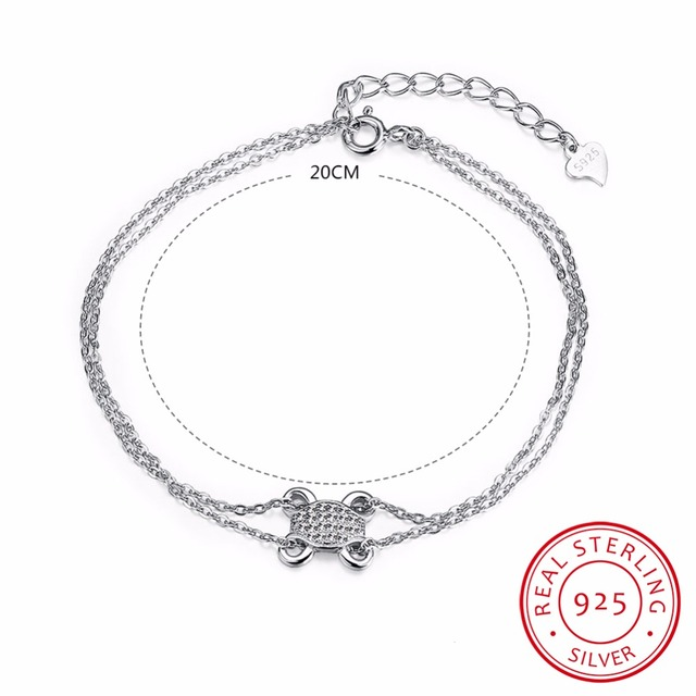 20cm Long Frog Charm Bracelets For Women 925 Sterling Silver Jewelry Link Chain Bileklik Spring-ring-clasps Bracelet Pulseira