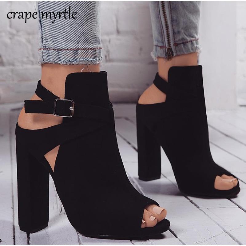 Women Suede Heels Women High Heels Ladies Sandals Block Heel Pee Toe Party  Dress Woman Shoes a6716bb579b7