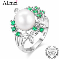 Almei Green Tiny CZ Stone Elegant Flower Pearl Rings 925 Sterling Silver Perfect Accessories Jewelry for Women with Box CJ022