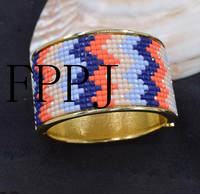 Pink And Blue Beads Gold Bangle Cuff 7 5inch Unique Style FPPJ Bracelet Wholesale Beads Nature