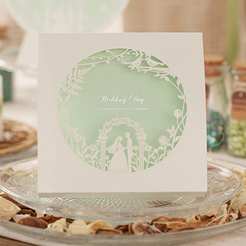 ФОТО 50pcs/pack Hot Light Green Spring Laser Cut Wedding Invitation Engagement Invitation Anniversary Invitation Printable