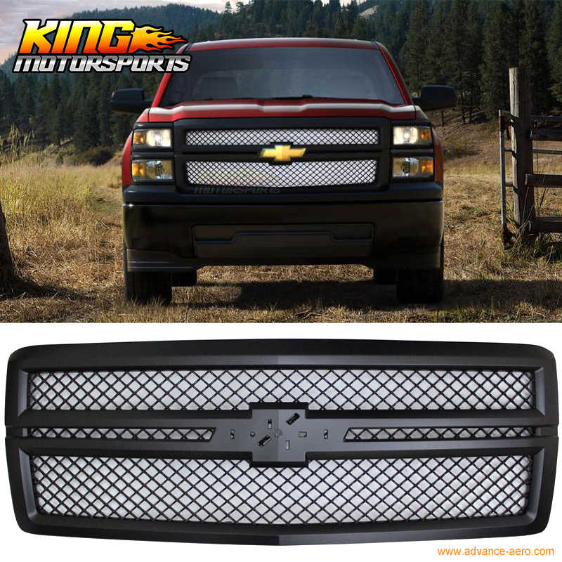 For 2014-2015 Chevy Silverado B Style Black Front Bumper Hood Grille Moulding - ABS