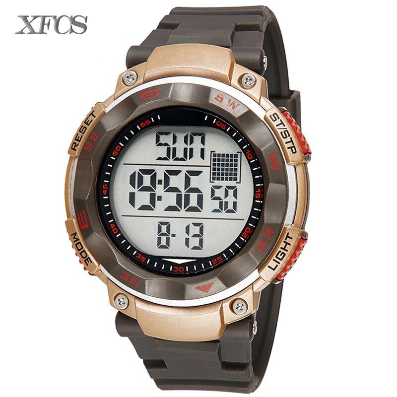 <font><b>Xfcs</b></font> 2017 водонепроницаемые наручные электронные автоматические часы для мужчин digitais часы Бег мужские человек digitales часы Дети секундомер ОТС