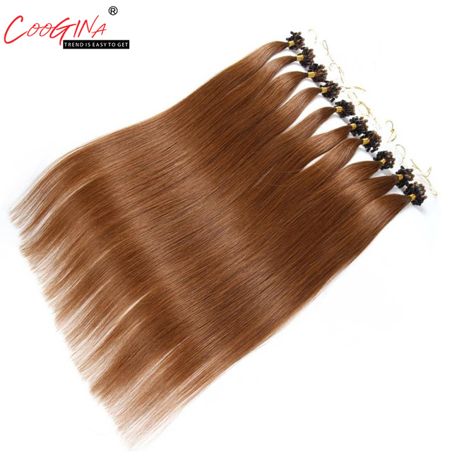 Coogina Women Micro Loop Ring Hair Extension Remy Micro Bead Hair