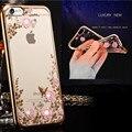 Роскошные Цветочные Горный Хрусталь Случае покрытие Прозрачный Для Apple iPhone 6 S Чехол Для iPhone 6 Plus Цветок Сотовый Телефон Случае крышка