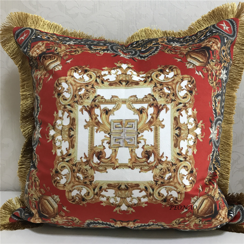 Both Sides Printing Pillowcases European Style Luxury Red High end Velvet Fabric Gray Cushion Slip Covers 19inch