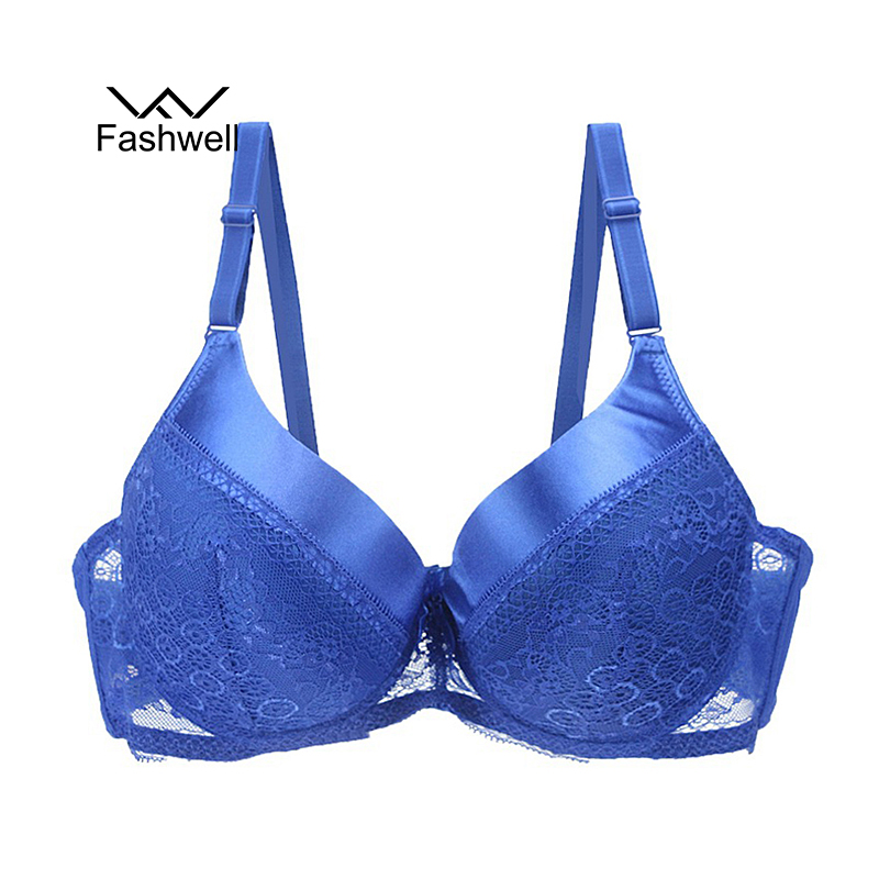Sexy Solid Lace Bra Bow Push Up Sexy Lingerie Brassiere Back Closure Women's Plus Size Sexy Underwear Bras