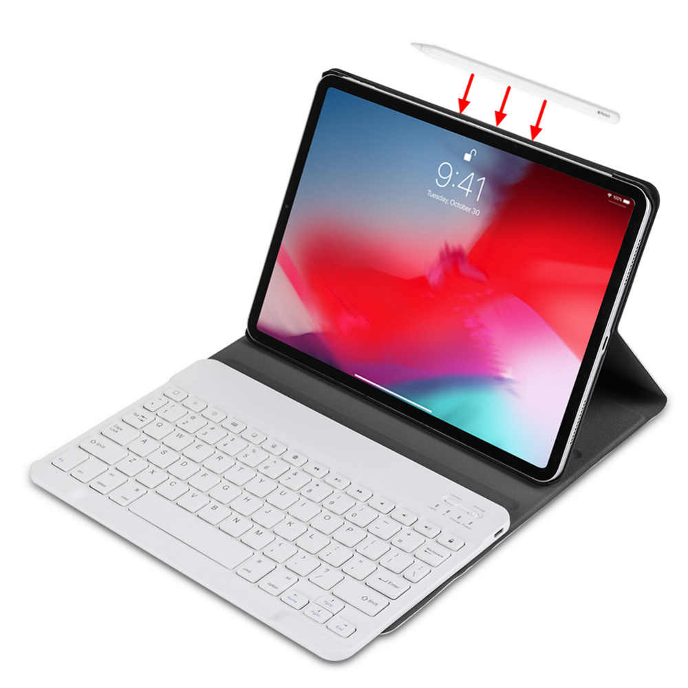 Untuk iPad Pro 11 2018 Tablet Ultra Tipis Penutup Case Kulit PU + Removable Nirkabel Bluetooth Rusia/Spanyol/ hebrew Keyboard