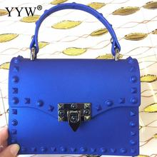 Royal Blue Handbag Women Designer Rivet Jelly Bag 2019 Bolsa Feminina Dull Polish Pvc Top Handle Hand Rubber Tote Bags