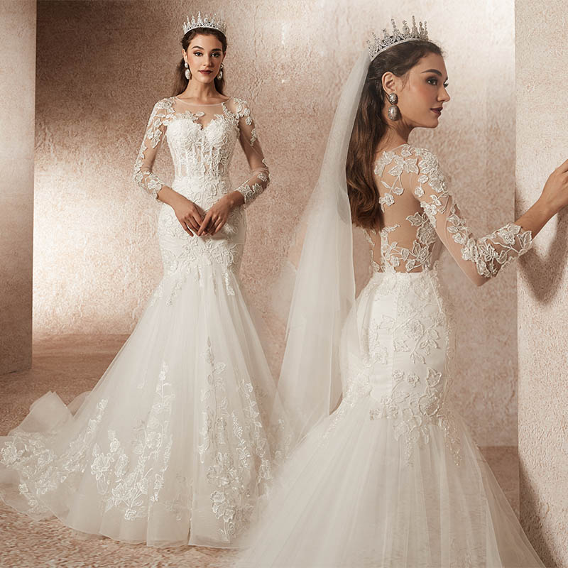 Minnaar Kus Vestido De Noiva Transparante Lange Mouwen Trouwjurken Luxe Kant Bruid Dress Gown Kralen Sexy Robe Mariage Sirene